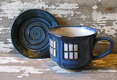 Police Box Tea Cup  Pottery Soup Mug  by BRobertsonPottery on Etsy