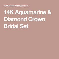 14K Aquamarine & Diamond Crown Bridal Set Mermaid Ring, Mermaid Wedding, Diamond Crown, Aquamarine Rings, Bridal Sets, Wedding Bands, Wedding Band, Wedding Band Ring, Wedding Rings