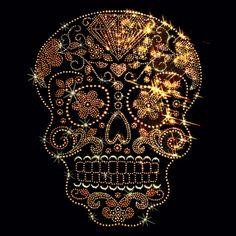 Rhinestone Studs Gold Sugar Skull T Shirt Womens Black Tank Tops Free Shipping #TShirtsRule #GraphicTee
