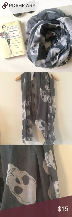 gray / skull scarf + gray and white skull scarf + lIghtweight material + length • 70in + width • 40in + in great condition   _the perfect lightweight, layering scarf that is long in length to give a full, chunky look while wearing. the skull print gives for an edgy yet clean look.   ◽️◽️◽️◽️◽️◽️◽️◽️◽️◽️◽️◽️◽️◽️◽️◽️◽️ Accessories Scarves & Wraps