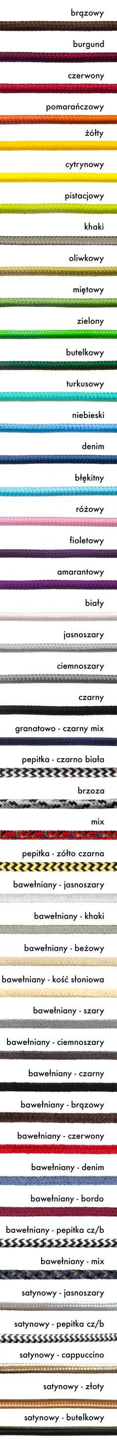 Kolorowe kable w oplocie poliestrowym