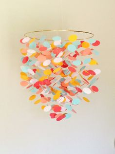 Baby Mobile in coral and aquaHanging Crib Mobile by bottzstudios, $49.00