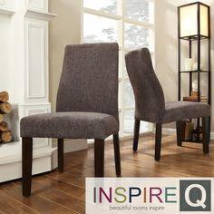 Inspire Q Kiess Dark Grey Chenille Wave Back Parson Chairs (Set of 2)