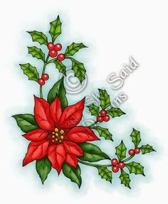 Poinsettia & Holly Pre-Coloured Set -includes white and red versions of Poinsettia & Holly ( with warm, cool ( JPG) & no backgrou. Christmas Rock, Christmas Design, Christmas Colors, Christmas Clipart, Christmas Printables, Christmas Crafts, Christmas Ornaments, Christmas Coloring Pages, Christmas Paintings