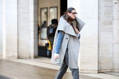 Below-Freezing NYC Street Style That's Still Fire #refinery29  http://www.refinery29.com/2015/02/82279/new-york-fashion-week-2015-street-style-pictures#slide-28  Jenna Lyons mixes in a peek of her signature denim in this architecturally layered ensemble.