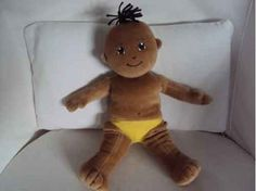 """Cuddly 12"""" Rag Doll (Unclothed) - Chinese Oriental Boy - He has a small tuff of very dark brown hair, lovely caramel skin and big hopeful eyes. This little one comes with a pair of bright yellow pants, but perhaps you'd like to dress him up in something fit for winter! Brown Hair, Black Hair, Yellow Pants, Tan Skin, Rag Dolls, Bright Yellow, Stuffed Animals, Beautiful Boys, Dark Brown"""