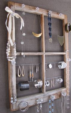 Repurposed Window Pane Jewelry Display by scandalaskan on Etsy