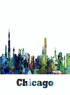 Fine Art Print Chicago Skyline Cityscape Landscape Map Geographic Map Contemporary Abstract 5 Designs Available