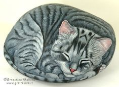 Sleeping Kitty Cat...these are the BEST Rock Painting Ideas!