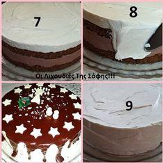 Χριστουγεννιάτικη Τούρτα_ βήμα βήμα_ Christmas Cooking, Christmas Recipes, No Bake Cake, Food And Drink, Birthday Cake, Sweets, Desserts, Baking Cakes, Makeup
