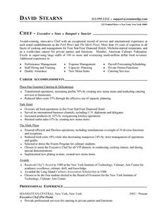Professional Resume Cover Letter Sample | Chef Resume | Free Sample Culinary Resume