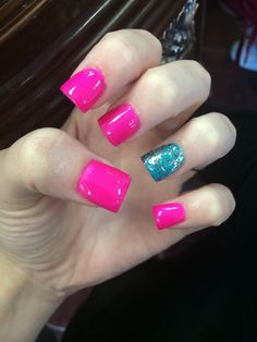 #nails #party #pink #blue #sparkles