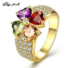 6992ca931 Sky Fish gold plated ring with multi-color CZ Rose Gold Flower Ring, Diamond