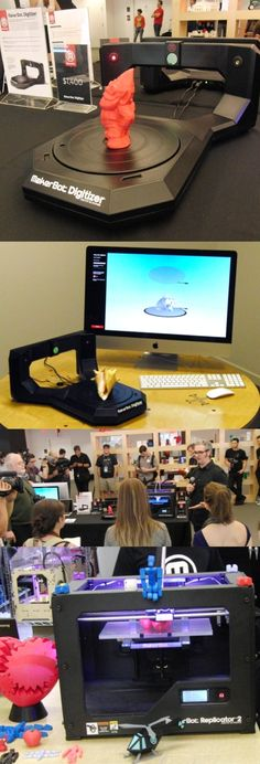 See it, scan it, make it: The MakerBot Digitizer Desktop 3D Scanner can scan any object placed on its 8-inch turntable and in 12 minutes create a digital file that can be used to reproduce it in plastic in a 3D printer like the @MakerBot®  Replicator 2. The Brooklyn-built $1,400 digitizer has two low-power lasers which take 800 thin scans of the objects, which can be up to 8 inches tall. Scanned objects can be sliced, diced and otherwise edited in software before they're reproduced.