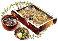 Japanese food illustration on Behance Cute Food, Yummy Food, Buckwheat Soba Noodles, Japanese Food Art, Japanese Painting, Food Sketch, Watercolor Food, Poster Art, Food Painting