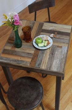 Handcrafted with a mix of reclaimed barn and pallet wood, these handsome pub tables are perfect to create an intimate nook in your kitchen and durable enough to put outside in the summer. The sturdy wood tops fit snugly over a welded steel frame. Built in our studio to last a lifetime! Custom Size: 30W x 30D x 42H. ***Leveler feet, optional ***Please contact us for specific shipping costs as it varies depending on location.  Follow our Instagram @ladybader to see what were up to and what…
