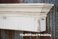 Fireplace Mantel 84 Distressed Wall Shelf by TheMillCreekWoodshop Distressed Fireplace, Fireplace Mantels, Fireplace Ideas, Wall Shelves, Shelf, Moldings And Trim, Floating Shelves, Native Son, Handmade Gifts