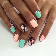Butterfly nail art, Gentle half moon nails, Half-moon nails ideas, June nails, Manicure by summer dress, May nails, Moon nails by gel polish, Shellac half moon nails
