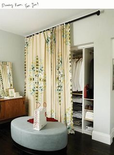 "First of all, does anybody still say ""drapes?""  Here's an unexpected twist on doors.  A fun way to add texture or pattern...or, in our case..."