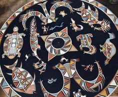 Le MALUANA...CIEL de CASE représentant la MYTHOLOGIE des Indiens Wayana...fait pour orner le plafond du TUKUSIPAN...le carbet central du village