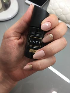 Nude gold ombre nails