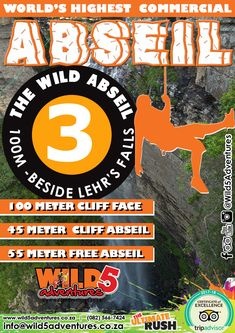 Do you have what it takes to face the worlds highest commercial abseil? While earning your bragging rights you will get to enjoy breathtaking views of the Oribi Gorge and Lehr's Waterfall. What It Takes, Chicago Cubs Logo, Rafting, Trip Advisor, Waterfall, Commercial, Activities, Adventure, World