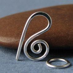 Handmade Clasp, Small Swirl Hook, Sterling Silver Findings - 18 gauge. $5.25, via Etsy.