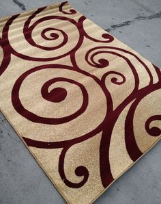 Modern Style Contemporary Rug 8x10 8 x 10 Carpet Rugs Red Beige Swirl Burgundy #Contemporary