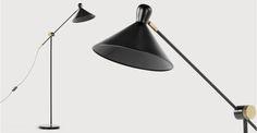 Ogilvy, un lampadaire, noir mat et laiton vintage | made.com
