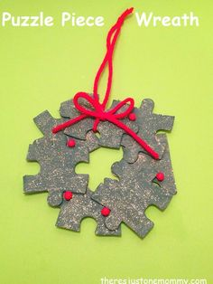 Puzzle Piece Wreath Ornament   There's Just One Mommy