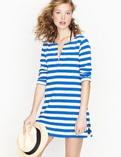 Casual blue and white J.Crew tunic dress.