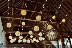Festoon Single Swag Canaopy with Paper Lanterns. Lighting by Oakwood Events.