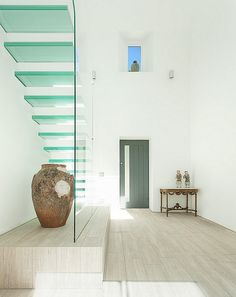 contemporary glass stairs for minimalists  AR Design Studio