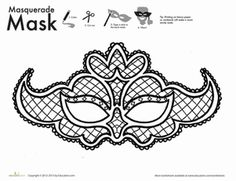 New Year First Grade Holiday Paper Projects Worksheets: Lace Mask Coloring