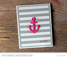 Card nautical - anchor stribes - kort nautisk maritimt, Die-namics Design Challenge - Cover-Up Craze