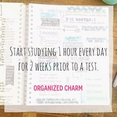 Tip Sunday: Start 2 Weeks Ahead! Organized Charm: Study Tip Sunday: Start 2 Weeks Ahead!Organized Charm: Study Tip Sunday: Start 2 Weeks Ahead! Notes Taking, College Success, College Tips, College Goals, College Planner, School Study Tips, School Tips, Law School, College School Supplies