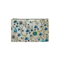 Whimsical Flowers Blue Cosmetic Bag (Small) by Zandiepants