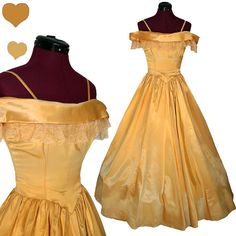 Dress Vintage 50s Gold Satin LACE Gown Party Prom Dress XS Formal NYE Rockabilly Pinup on Etsy, $150.00