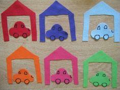 Car Preschool Lesson Plan - perfect and easy color match felt! Toddler Classroom, Preschool Classroom, Classroom Activities, Preschool Activities, Cognitive Activities, Children Activities, Winter Activities, Cars Preschool, Preschool Colors