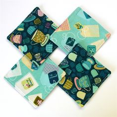 4 x Reversible Fabric Coasters - Teacups on Royal Blue with pastel teabags - monkey & bee