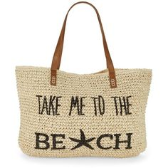 Straw Studios Straw Beach Tote ($48) ❤ liked on Polyvore featuring bags, handbags, tote bags, take me to, straw tote, white tote bag, beach tote, woven tote and straw tote beach bag