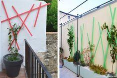 Treille sur-mesure, design Claire Delahaye, en bois, modèle rose, 80 €, modèle vert, 120 €, chez Slowgarden