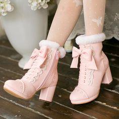 Pink/apricot bowknot lolita heels boots SE10700