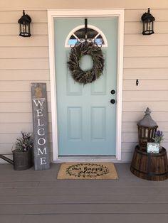 Home decor · modern rustic farmhouse front porch design ideas small front porches Farmhouse Front Porches, Small Front Porches, Front Porch Design, Rustic Farmhouse, Farmhouse Style, Porch Designs, Patio Design, Front Porch Lights, Painted Front Porches