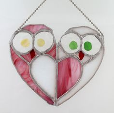 Love Owls Wall hanging stained glass Suncatcher by osnatfox, $39.90