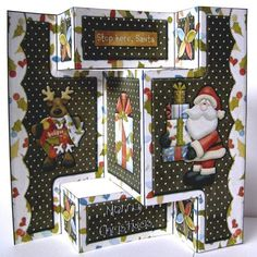 believe in santa tri fold shutter card on Craftsuprint designed by Michelle Johnson - made by Margaret McCartney - I printed off the design onto good quality white card and cut it out. I scored and folded the design as per instructions. A lovely card for Christmas, quick and easy to make. - Now available for download!