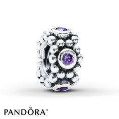 Pandora Spacer Purple Cubic Zirconia Sterling Silver