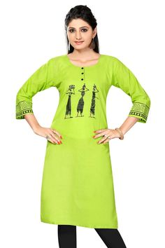 Neon Green Cotton Sleeves kurti with beautiful print on the sleeves and worli print at the front and back look beautiful with red color print touch up Dress Painting, T Shirt Painting, Fabric Painting, Worli Painting, Long Cotton Kurti, Black Kurti, Hand Painted Dress, Fabric Paint Designs, Dress Neck Designs