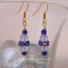 Simply Elegant Beaded Dangle Earrings, Blue/Frost by P. Quinn of My Found Objects