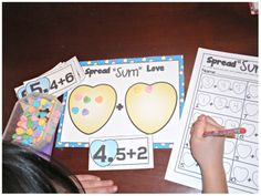 """Spread """"Sum"""" Love (Candy Heart Addition with Mat and Recording Sheet)"""